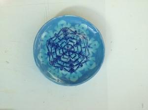 Blue slip, blue screen printing, blue glaze.
