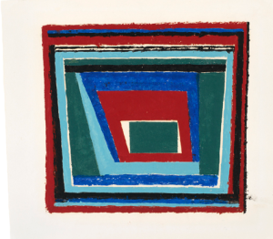 "Josef Albers Study for ""Mantic"" (I) 1940 oil on blotting paper 13"" x 17.5"""