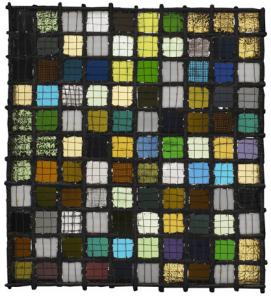 "Josef Albers ""Gitterbild"" (Grid Mounted) ca. 1921 glass, metal, wire 12.75"" x 11.375"""