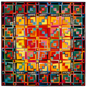 """Freehand 4: Luminous Numinous""  1992 50"" x 70""  hand dyed cottons machine pieced and quilted"