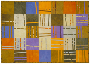 """Bamboo Boogie Woogie I"" 2001 45"" x 65"" hand dyed cottons machine pieced and quilted"