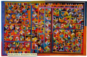 """Mumbo Jumbo 3: Renaissance Thinking"" 1995 49"" x 77"" commercial and hand dyed cottons machine pieced and quilted"