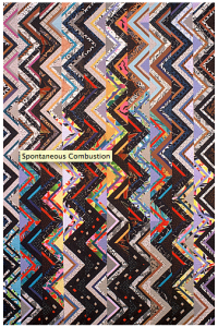 "Spontaneous Combustion 1991 75"" x 50""  commercial cottons machine pieced and quilted"
