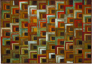 """Within/Without 6"" 1999 50"" x 70"" hand dyed cottons machine pieced and quilted"