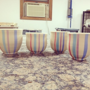 Decorating the first batch of cups!